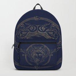 medusa / gold minimal line logo on navy background Backpack