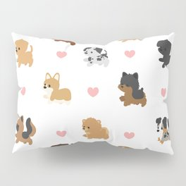 Dog Breeds with Hearts Pillow Sham