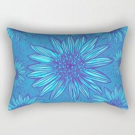 Winter Daisies in ice blue Rectangular Pillow