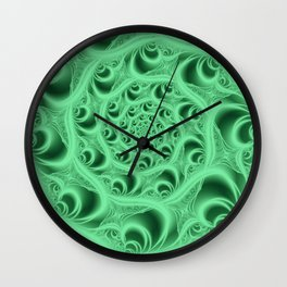 Fractal Web in Flourescent Green Wall Clock