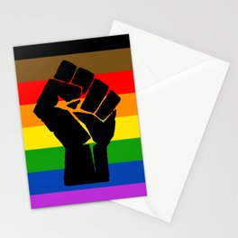 LGBT Pride Flag More Colors Raised Fist (More Pride) Stationery Cards