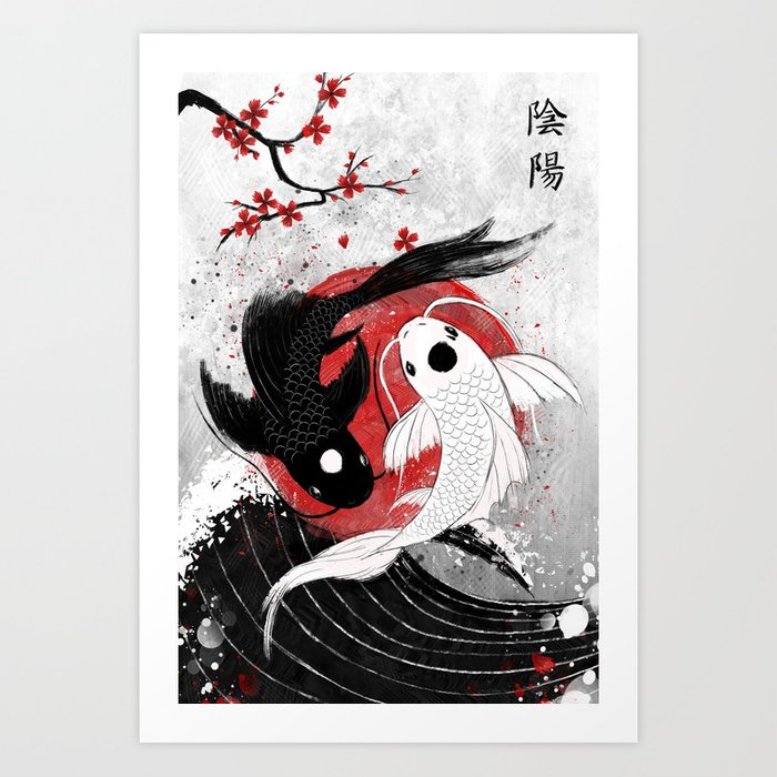 Koi fish - Yin Yang Kunstdrucke