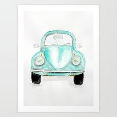 VW Beetle - Watercolor Art Print
