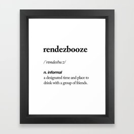 Rendezbooze black and white contemporary minimalism typography design home wall decor bedroom Framed Art Print