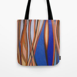Retro Blues Browns Oranges Line Design with Pastels by annmariescreations Tote Bag