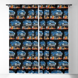 Classic Seventies American Muscle Car Hot Rod Cartoon Illustration Blackout Curtain