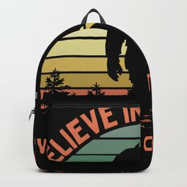 Bigfoot Funny Believe In Yourself Motivational Sasquatch Vintage Sunset Backpack