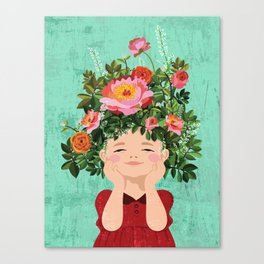 Spring Flower Girl Canvas Print