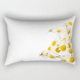 Many white flowerheads of chamomile bunch Rectangular Pillow