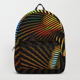 0727s-MM Sensual Abstract Figure Zebra Striped Op Art Nude Woman Back Butt Powerful Artwork Backpack