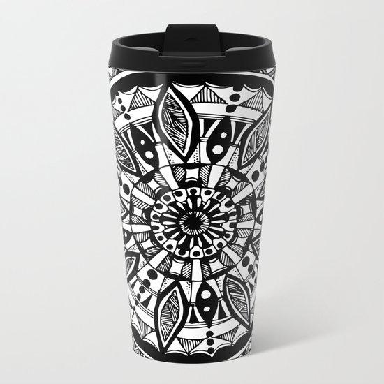 Black sunflower Metal Travel Mug