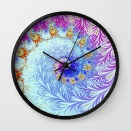 Pink Ice Spiral Fractal Wall Clock