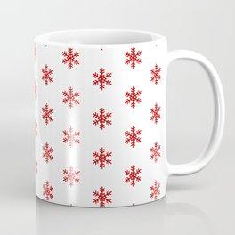 Snowflakes Red on White Coffee Mug