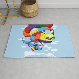 Stan, the Forgotten Luckdragon, and His Italian Skydog Skeletori Rug
