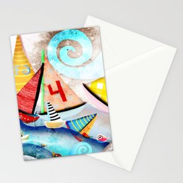 Wooden sail boat Love - Wild ocean waves Stationery Cards