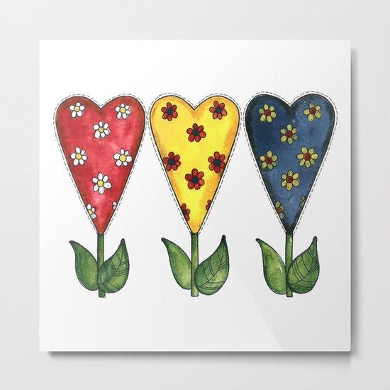 Hearts & Flowers Metal Print