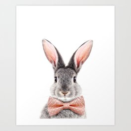 Baby Rabbit, Grey Bunny With Bow Tie, Baby Animals Art Print By Synplus Art Print