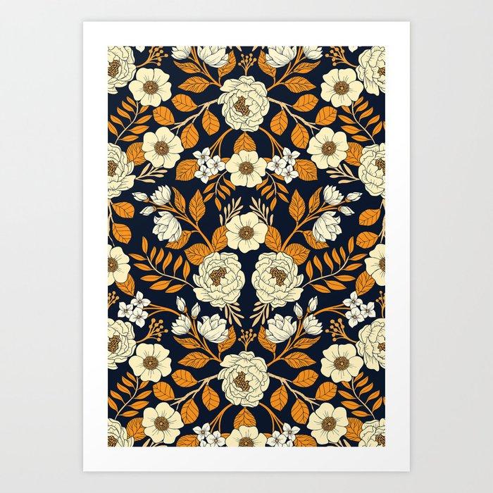 Navy Blue, Orange, Cream, Gold & White Floral Pattern Kunstdrucke