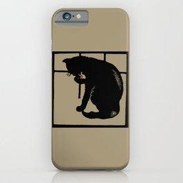 Black cat modern woodcut style iPhone Case