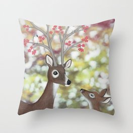 white tailed deer, tufted titmice, & cherry blossoms Throw Pillow
