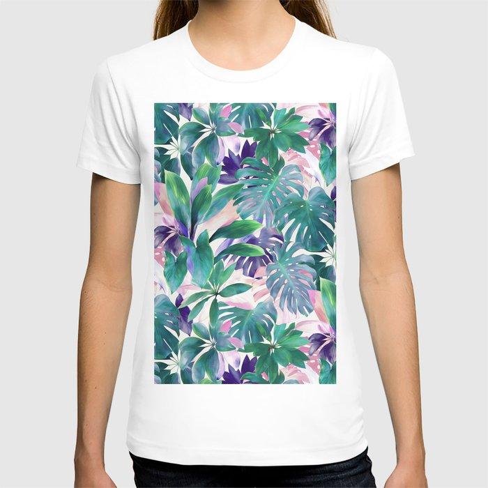 Pastel Summer Tropical Emerald Jungle T-shirt