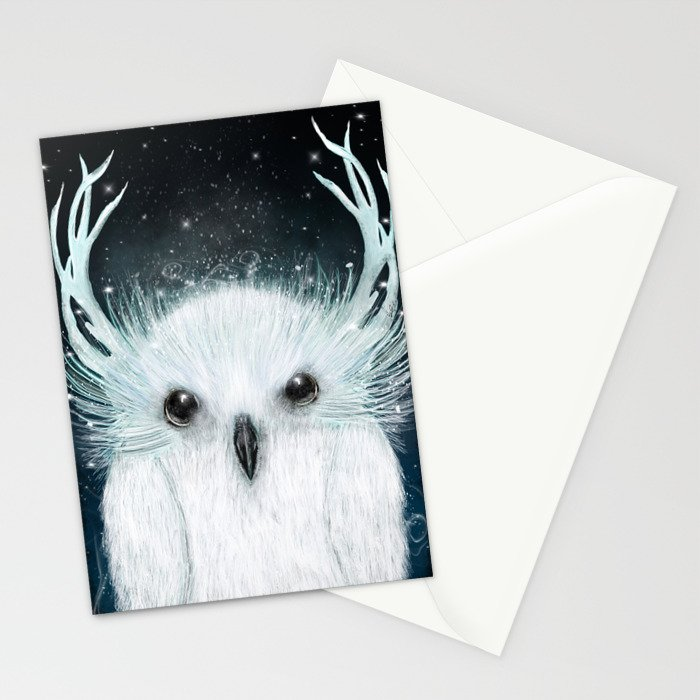 the white owl Stationery Cards