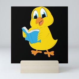 Children Book Chicken Chick Reading Animal Motif Mini Art Print