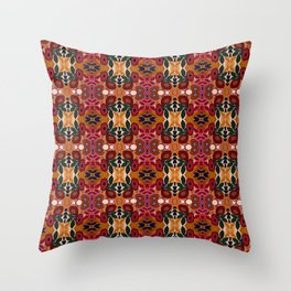 Red Coral Orange Green Floral Pattern Throw Pillow