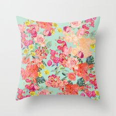 Antique Floral Print in Coral and Mint Tones Throw Pillow
