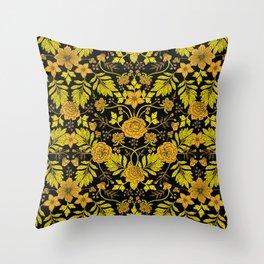 Yellow, Orange, Tan & Black Intricate Floral Pattern Throw Pillow