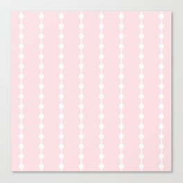 Geometric Droplets Pattern Linked - Pastel Pink and White Canvas Print