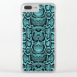 Blue Snake Skin Clear iPhone Case