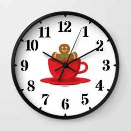 Gingerbread Man Relaxing In A Hot Chocolate Red Cup Wall Clock