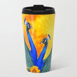 BLUE PEACOCKS MOON & FLOWERS FANTASY ART Travel Mug