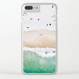 A aerial shot of a sandy beach and crystal clear water Clear iPhone Case