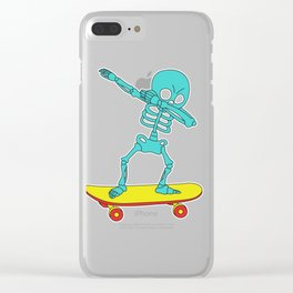 Funny & Cool Tshirt Design Skeleton Skater Dab Clear iPhone Case