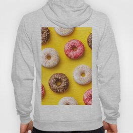 Donut lovers, delicious donuts on yellow background Hoody
