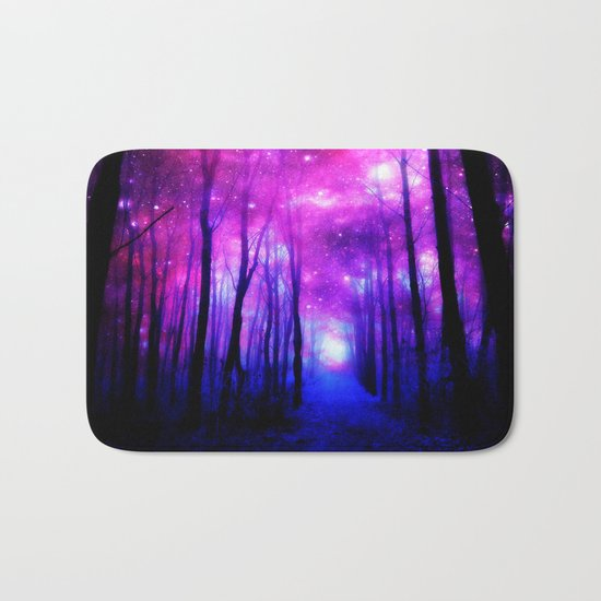 Magical Forest Path Fuchsia Purple Blue Bath Mat