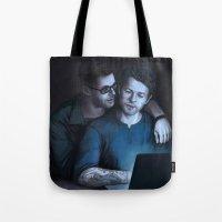 destiel Tote Bags featuring Cas and Dean College AU. Destiel by Armellin