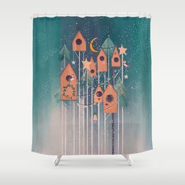 Winter house decorating Shower Curtain