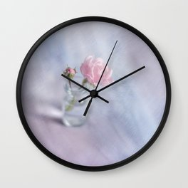 Square with a small rose Wall Clock