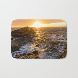 In Waves - Waves Crashing Into Rocks at Sunset In Big Sur Bath Mat