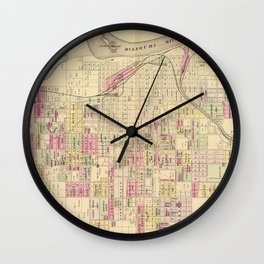 Vintage Map of Omaha Nebraska (1885) Wall Clock