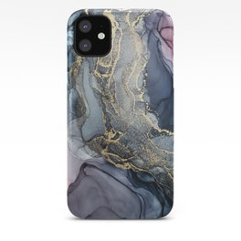 Blush, Payne's Gray and Gold Metallic Abstract iPhone Case