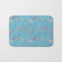 Walk with pink flamingos on bright blue Bath Mat