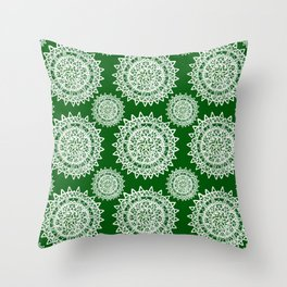 Emerald Green and Silver Patterned Mandalas Throw Pillow