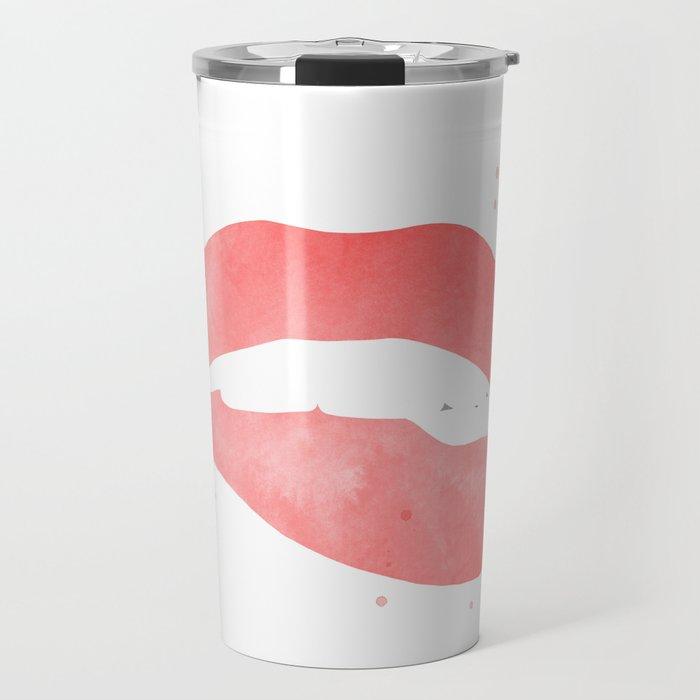 red biting lip Travel Mug