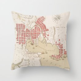 Vintage Map of Baltimore MD (1793) Throw Pillow