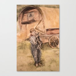 Watercolor Painting of a Shepherd Boy and his Dog Canvas Print