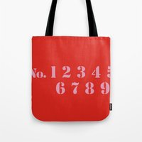 numbers Tote Bags featuring NUMBERS by Ljubica Cehovin